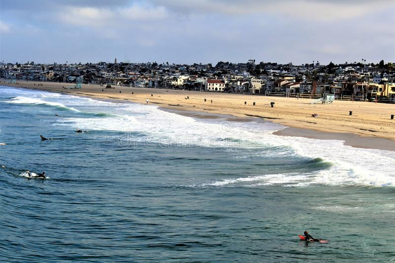 Beachfront på den Hermosa stranden Kalifornien i Los Angeles County, Kalifornien, Förenta staterna royaltyfria foton
