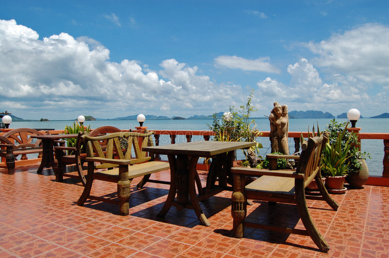 Beachfront restaurant. Restaurant in chineese style with lovely sea view stock image