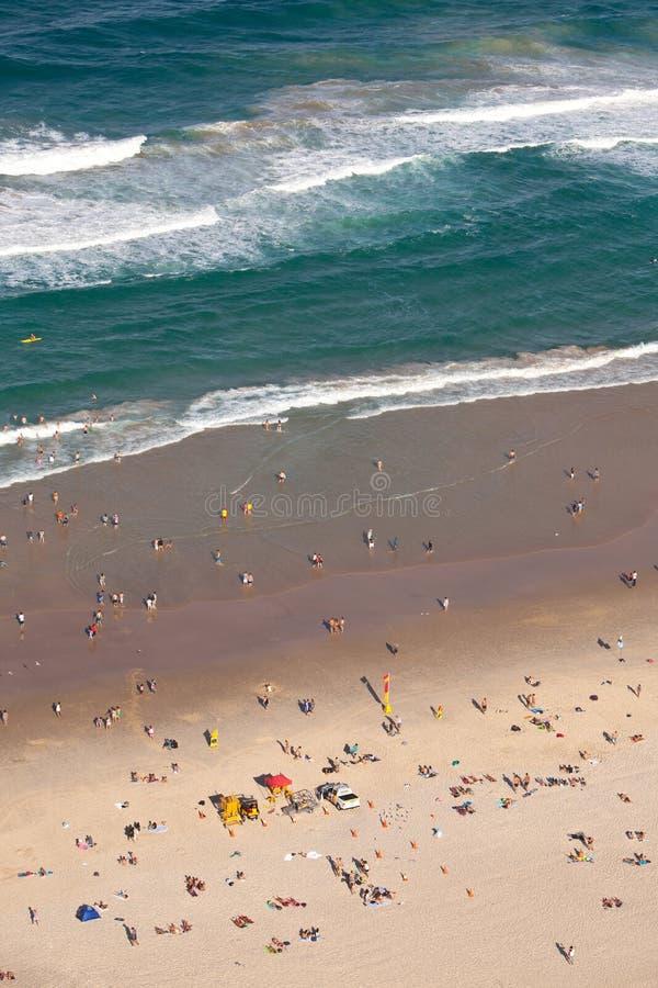 Beachgoers przy surfingowa raju złota wybrzeżem Queensland Australia zdjęcie royalty free