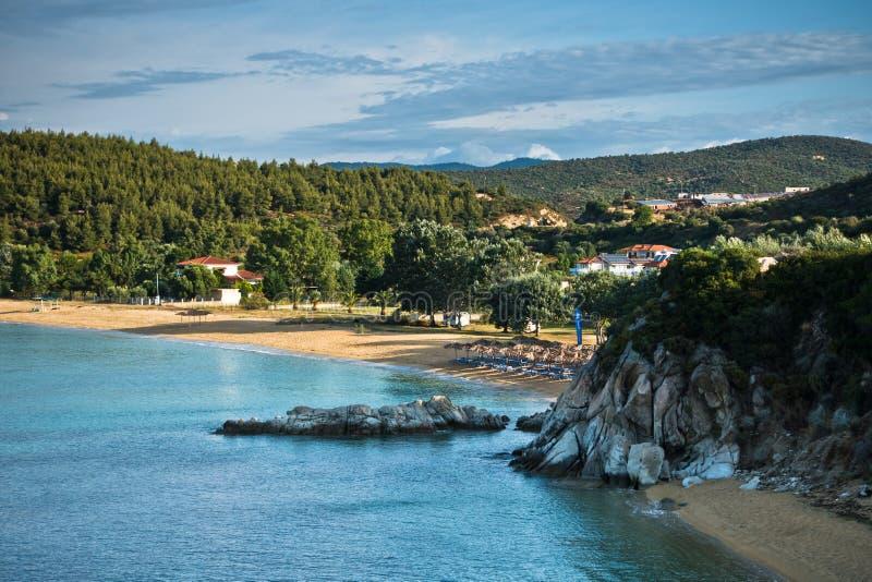 Beachscape van het Egeïsche overzees, Destenika-strand, Sithonia royalty-vrije stock foto's