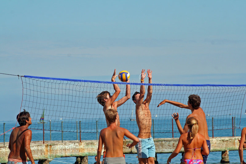 Download Beachvolley stock image. Image of ball, jump, volley, beachvolley - 1446815