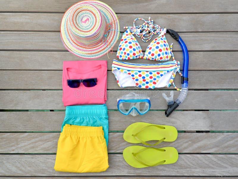 Beachwear από τη τοπ άποψη στοκ φωτογραφία