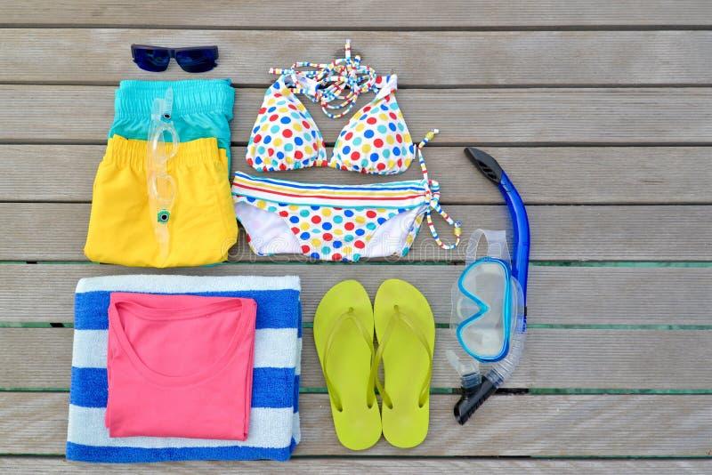 Beachwear από τη τοπ άποψη στοκ φωτογραφίες με δικαίωμα ελεύθερης χρήσης
