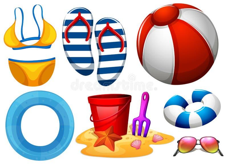 Beachwear και άλλα παιχνίδια παραλιών ελεύθερη απεικόνιση δικαιώματος