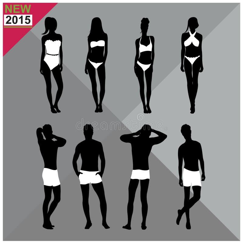 Download Beachwear, Swimwear Swimsuits Lata Ubioru Kobiet Mężczyzna/czernią Sylwetki, Set, Kolekcja Ilustracji - Ilustracja złożonej z kolekcja, ludzie: 57672837