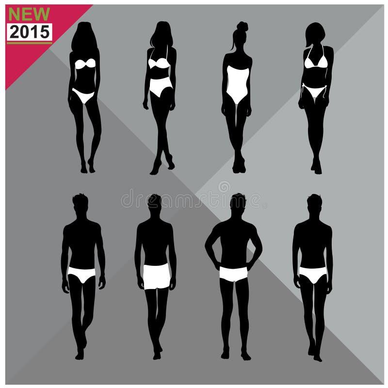 Download Beachwear, Swimwear Swimsuits Lata Ubioru Kobiet Mężczyzna/czernią Sylwetki, Set, Kolekcja Ilustracji - Ilustracja złożonej z słońce, socjalny: 57673084