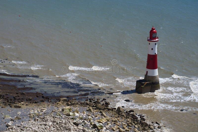 Beachy Kierownicza latarnia morska, Wschodni Sussex, Anglia zdjęcie stock