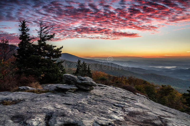 Beacon Heights, North Carolina, Blue Ridge Parkway. Predawn light from Beacon Heights overlook along the Blue Ridge Parkway in North Carolina. Cirrocumulus stock images