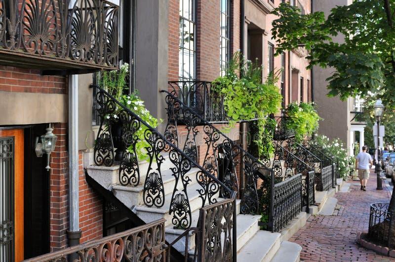 Beacon Hill, Boston. Victorian architecture, elegant brownstones stock photo