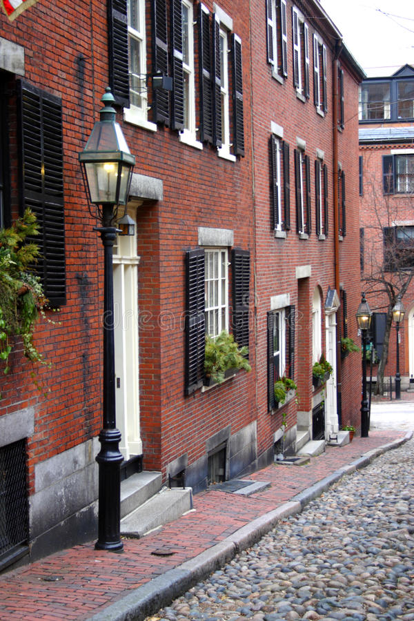 Beacon Hill is a wealthy neighborhood of Federal-style rowhouses, with some of the highest property values in the United States.  royalty free stock photo