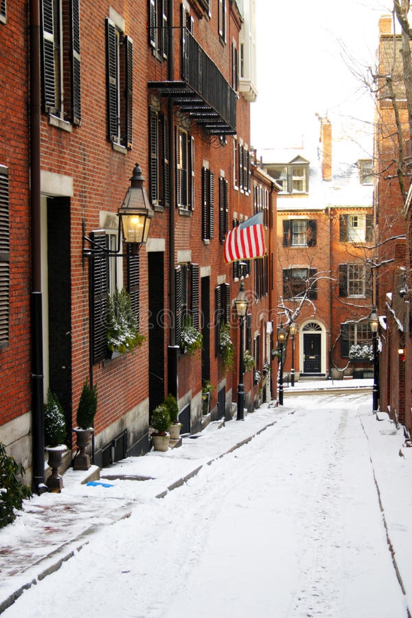 Beacon Hill is a wealthy neighborhood of Federal-style rowhouses, with some of the highest property values in the United States.  stock image