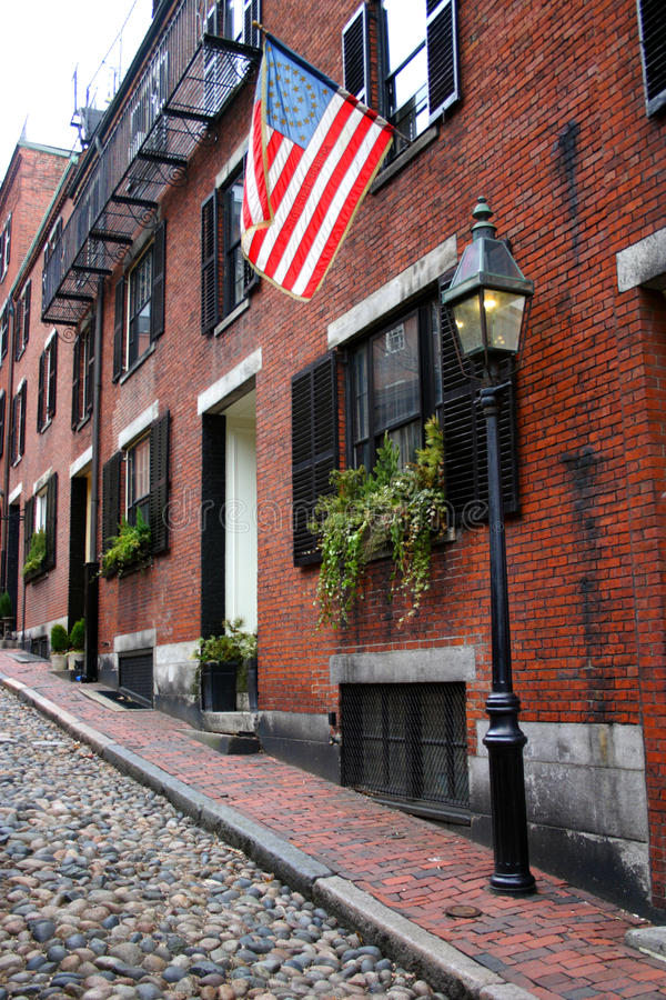 Beacon Hill is a wealthy neighborhood of Federal-style rowhouses, with some of the highest property values in the United States.  royalty free stock photography