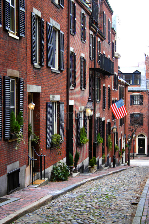 Beacon Hill is a wealthy neighborhood of Federal-style rowhouses, with some of the highest property values in the United States.  royalty free stock photos