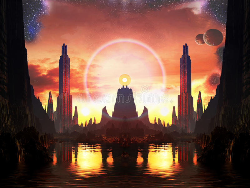 Beacon of Light in Alien Metropolis. A brilliant orb of light sits on a rocky pedestal in the centre of a art deco metropolis future city royalty free illustration