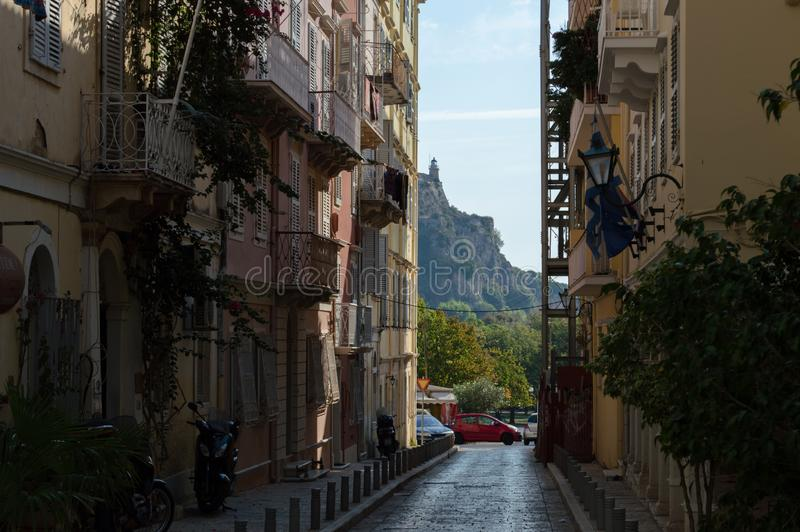 Beacon on the peak of rock in Kerkyra, Corfu stock photography