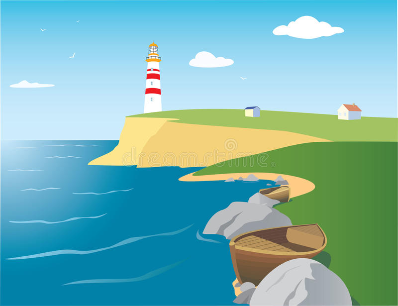 Download Beacon on the seashore stock vector. Illustration of summer - 25115301