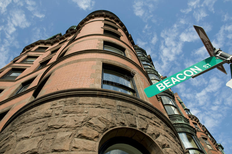 Beacon Street in Boston. With Curved Architecture and Blue Sky stock photography