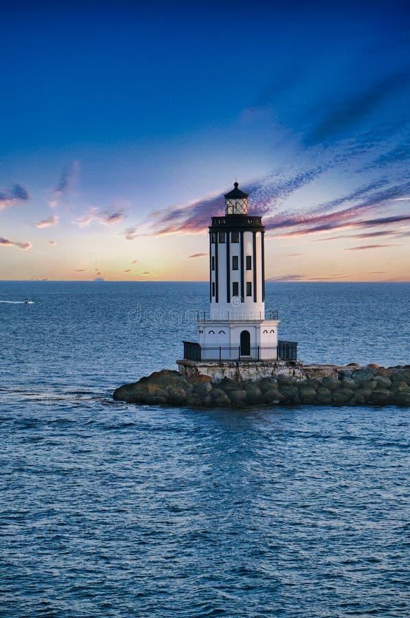 Beacon su Seawall fotografie stock