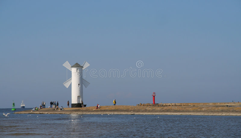 Download Beacon in Swinoujscie stock image. Image of ship, birds - 5085611