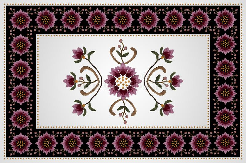 Black background with embroidered red-pink cornflowers and a white middle with a pattern of wavy branches with buds in bead frame royalty free illustration