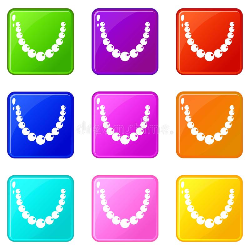 Bead icons 9 set. Bead icons of 9 color set isolated vector illustration royalty free illustration