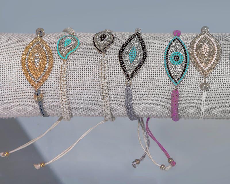 Bead Ladies Bracelets. Isolated. Semiprecious ladies fashion collection of handmade costume bracelet jewellery. Closeup. Stock Image royalty free stock photography