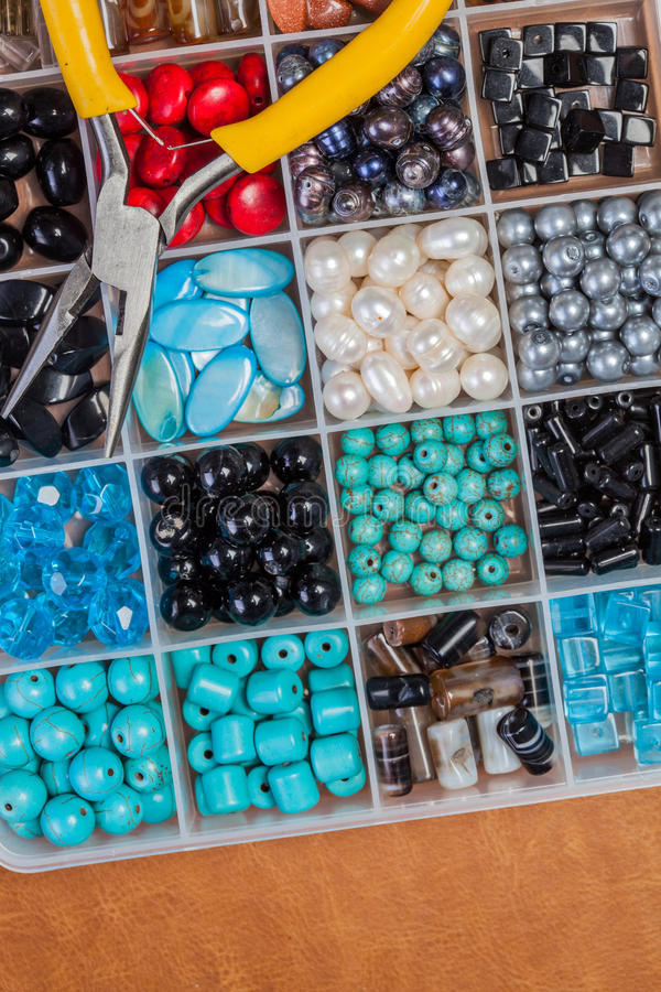 Bead making accessories. Making jewelty, fun time stock image