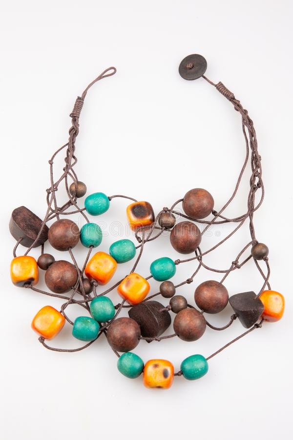 Bead necklace wood made of handicrafts. A Bead necklace wood made of handicrafts royalty free stock image