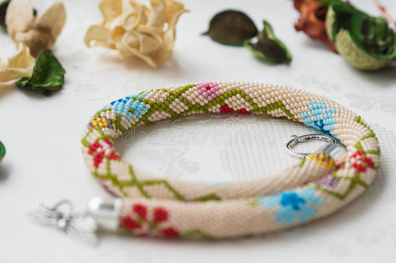 Beaded Crochet Necklace With Floral Pattern Stock Image Image Of