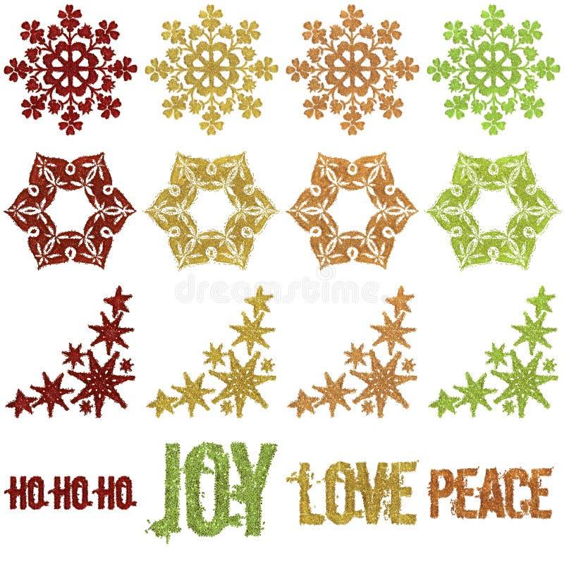 Beaded Glitter Christmas snowflake Ornaments stock photography