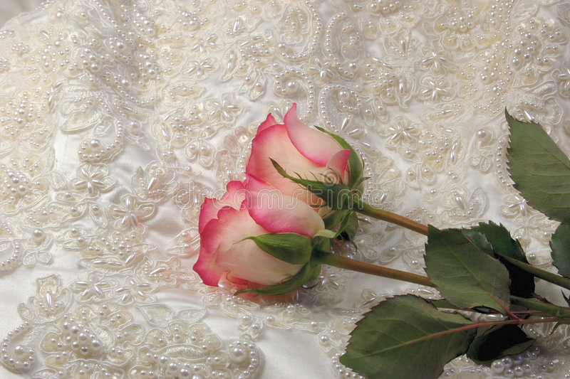 Beaded satin and a roses. Roses on beaded embroideredsatin bridal gown stock image