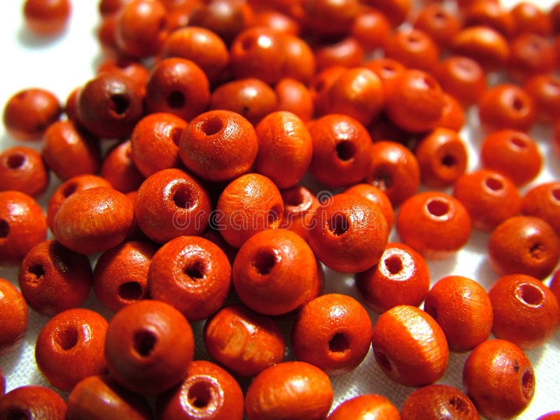 Beads. Red/scarlet beads stock photos