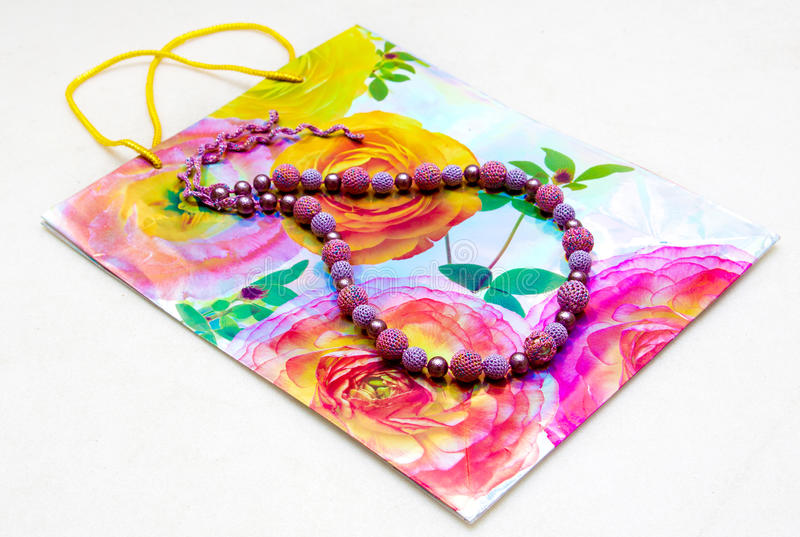 Download Beads On A Background Of Paper Bag Stock Photo - Image: 17863698