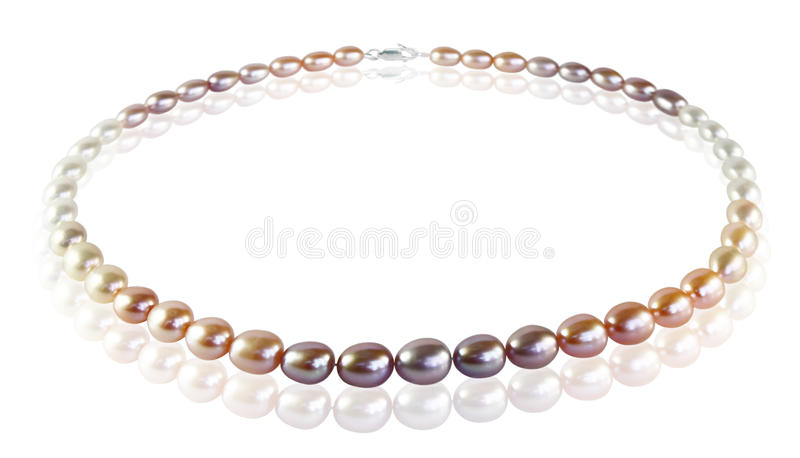 Beads of colored pearls stock photography