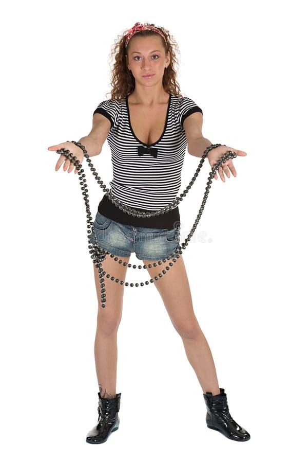beads flickan arkivfoton