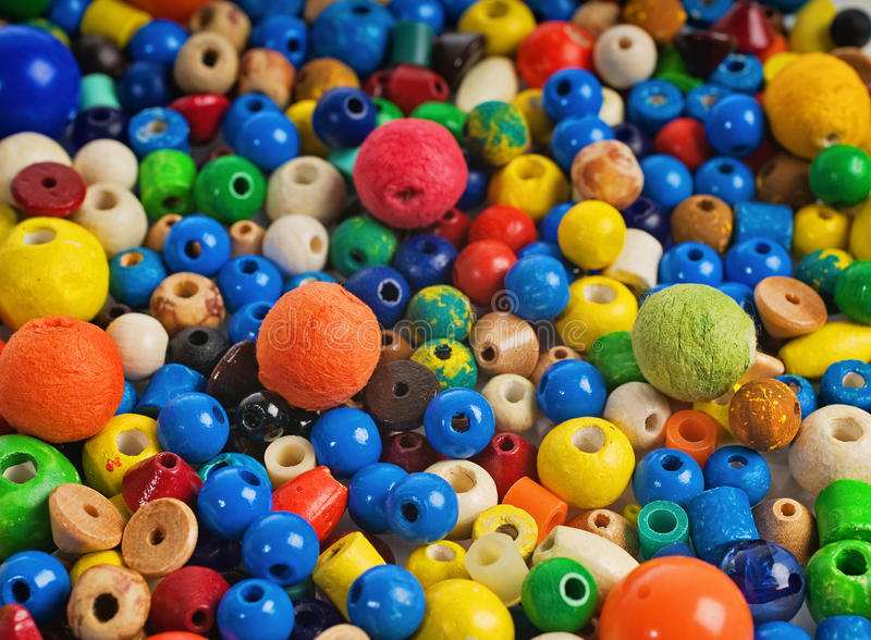 Beads. A large number of different beads for decoration stock image