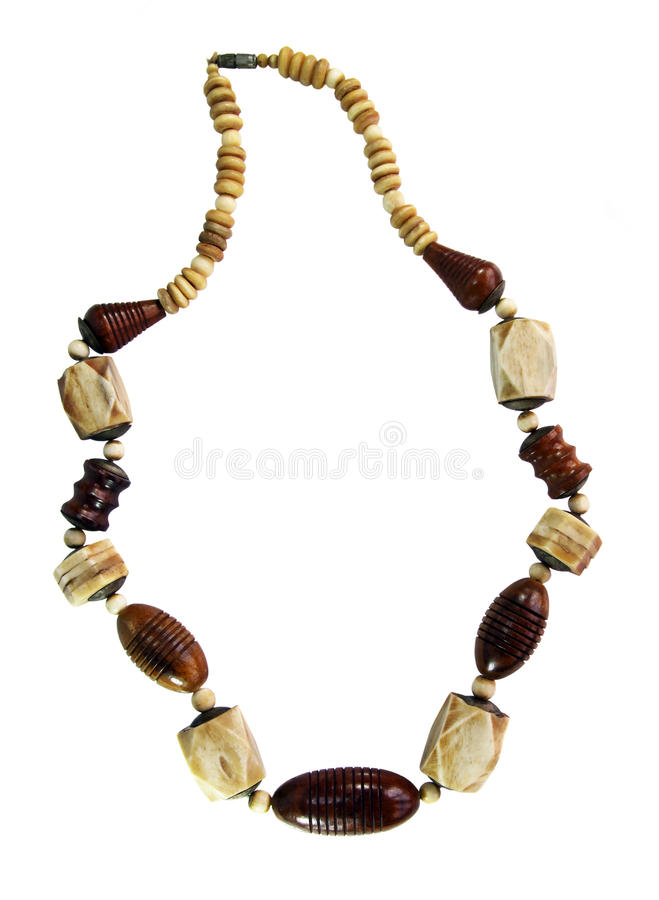 Beads made of wood and ivory royalty free stock photos
