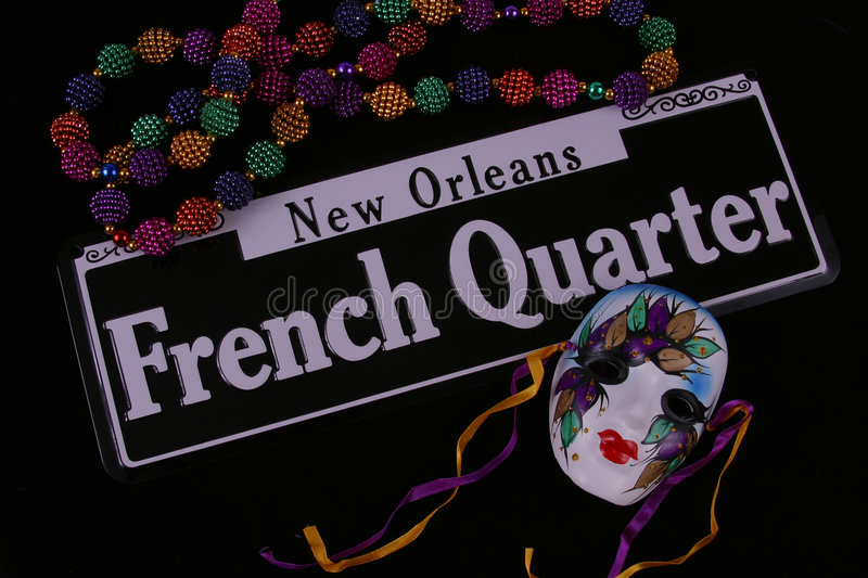 Beads, Mask and French Quarter royalty free stock images