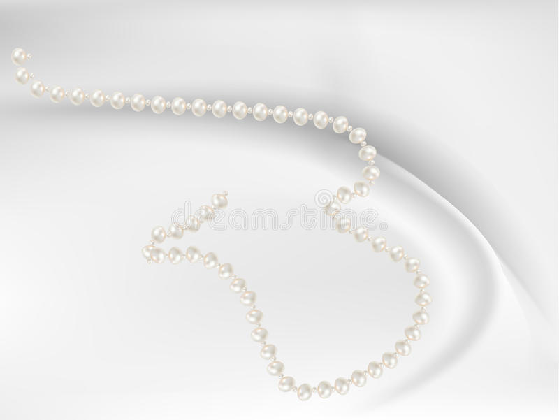 Beads with pink pearls romantic stock illustration