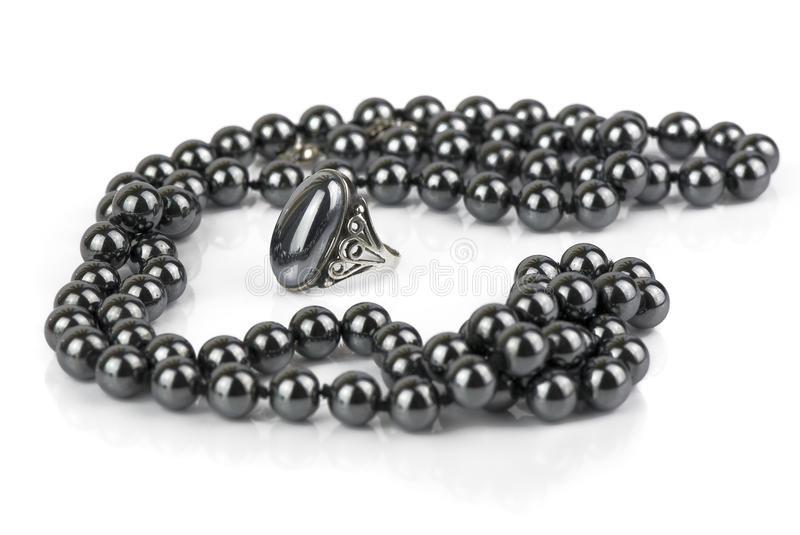 Beads and a ring made of hematite stock photo