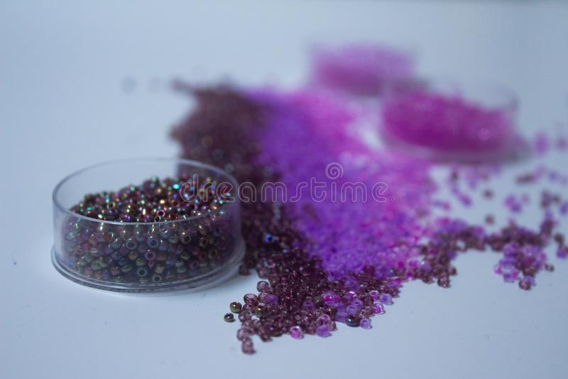 Beads in the shades of purple stock photography