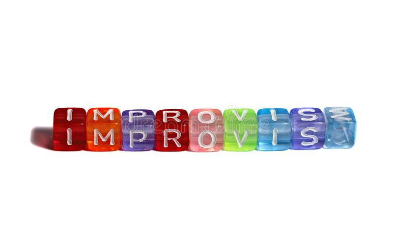 Beads Spelling `improvise` With `E` Replaced By `M` On White. Colourful plastic beads spelling out the word `improvise`, isolated on white, but with the letter ` royalty free stock image