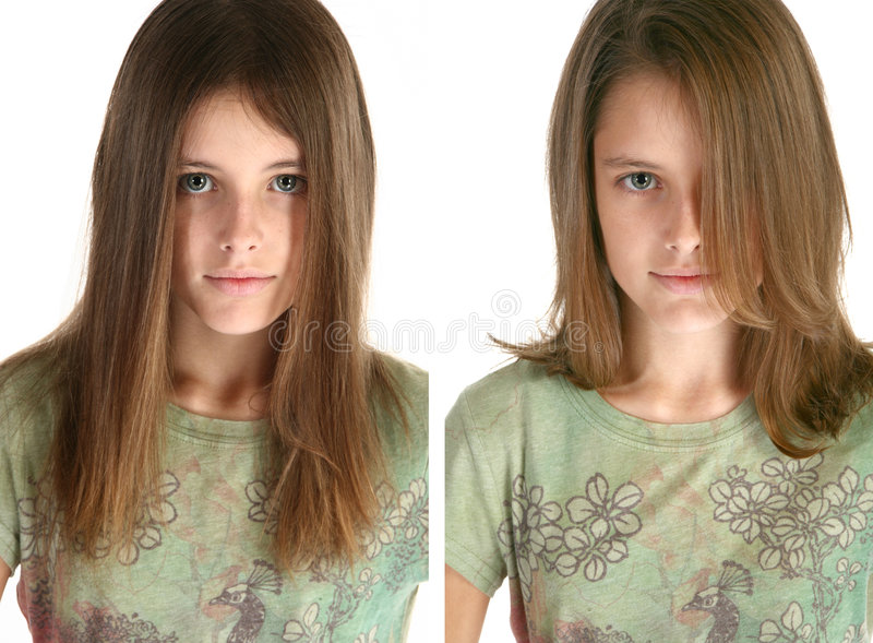 Beafore e dopo il taglio dei capelli fotografia stock libera da diritti