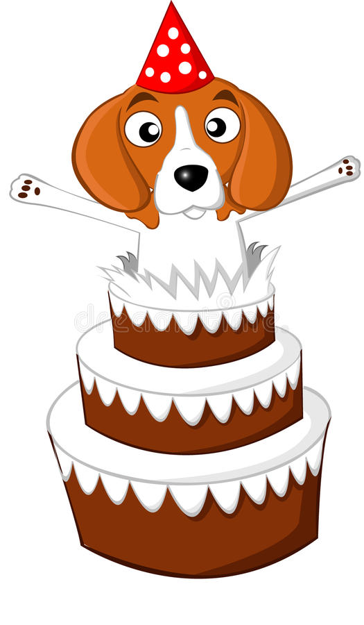 Beagle birthday cake. A beagle jumping out of a birthday cake stock illustration