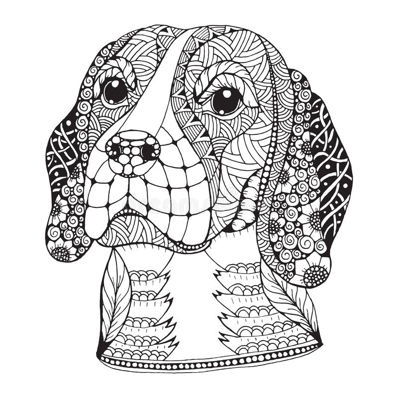 Beagle dog head zentangle stylized, vector, illustration. Freehand pencil, hand drawn, pattern. Zen art. Ornate vector. Lace. Print for t-shirts and coloring vector illustration