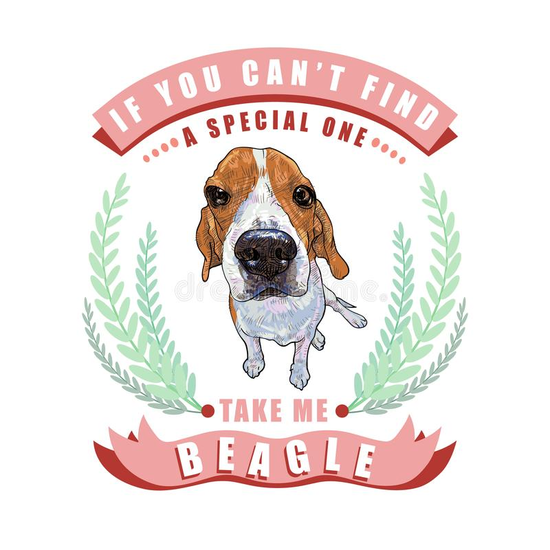 Beagle dog sitting in frame ,leaves and ribbon with text on white background royalty free illustration