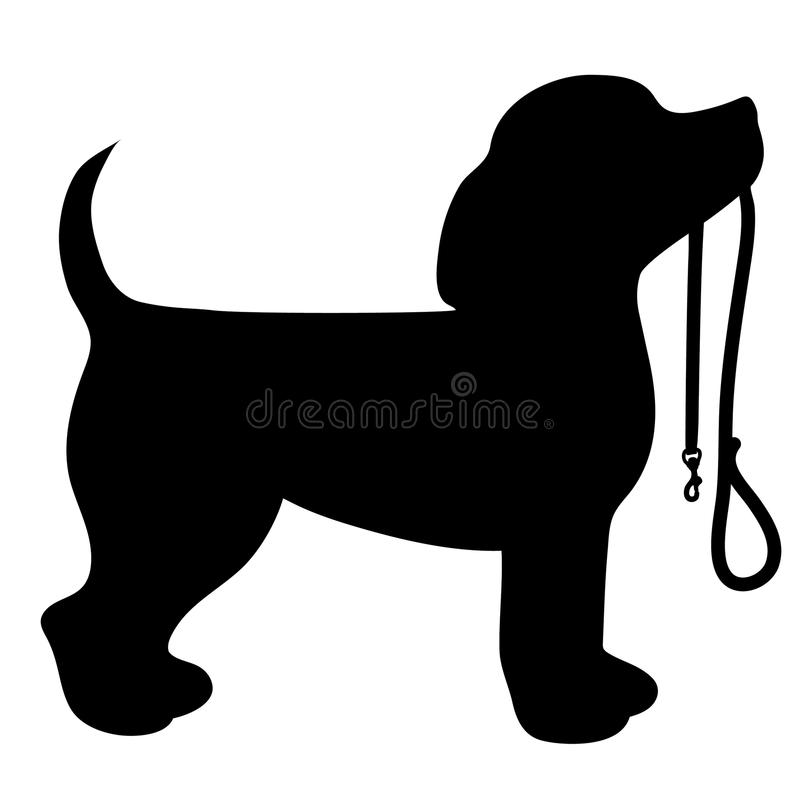 Beagle Leash. A cartoon black silhouette of a Beagle with a leash in its mouth vector illustration