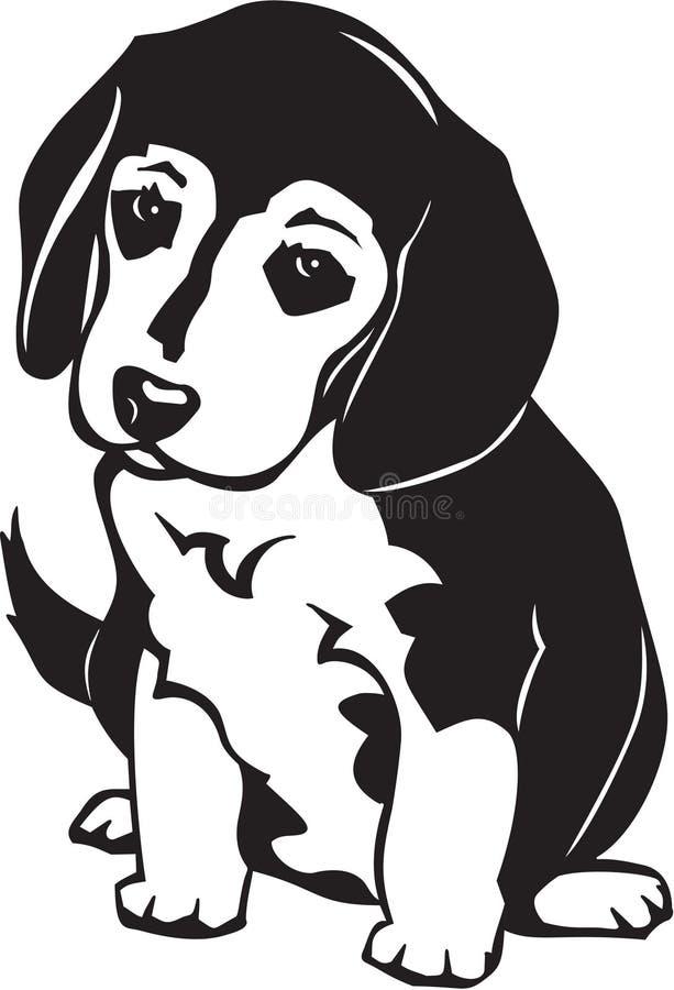 Beagle Puppy. Line Art Illustration of a Beagle Puppy vector illustration