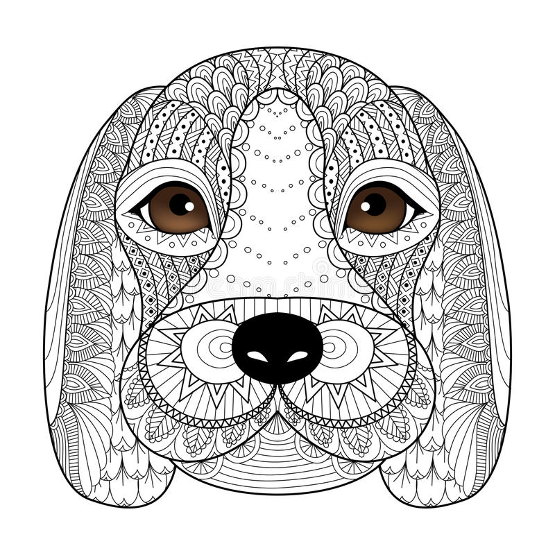 Beagle puppy line art for coloring book for adult, t-shirt design, tattoo and so on stock illustration