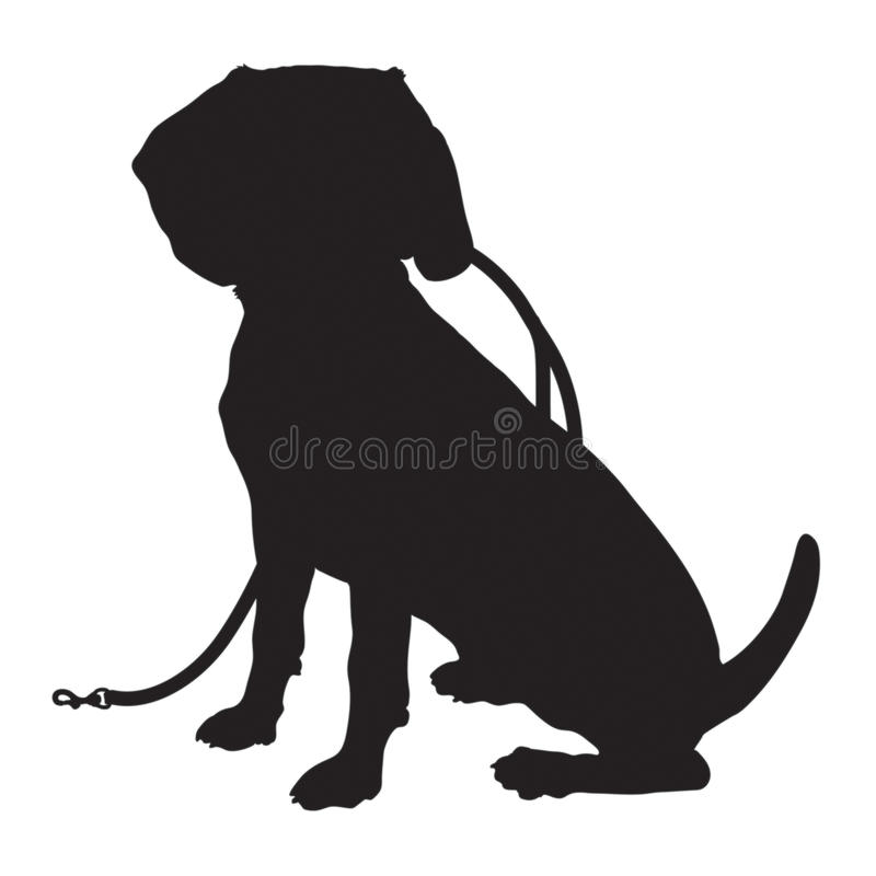 Beagle Silhouette Leash. A black silhouette of a sitting Beagle puppy with a leash in its mouth stock illustration